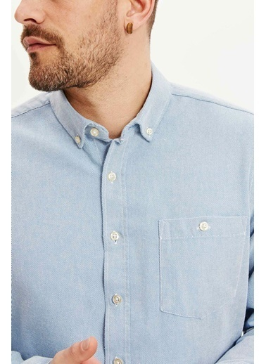 DeFacto Regular Fit Uzun Kol Gömlek Mavi